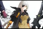 assault_rifle bangs black_gloves black_jacket blurry blurry_background braid breasts brown_hair brown_shirt closed_mouth commentary depth_of_field eyebrows_visible_through_hair eyepatch girls_frontline gloves gun highres holding holding_gun holding_weapon jacket keenh letterboxed long_hair long_sleeves looking_at_viewer m16a1_(girls_frontline) m16a1_(girls_frontline)_(boss) m4_carbine m4a1_(girls_frontline) medium_breasts mole mole_under_eye multicolored_hair object_namesake open_clothes open_jacket orange_hair pink_gloves rifle scar scar_across_eye shirt short_over_long_sleeves short_sleeves single_braid solo_focus st_ar-15_(girls_frontline) streaked_hair v-shaped_eyebrows very_long_hair weapon white_hair yellow_eyes