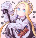 1girl abigail_williams_(fate/grand_order) absurdres alternate_costume bangs blonde_hair blue_eyes blush bow braid commentary_request dress eyebrows_visible_through_hair eyes_visible_through_hair fate/grand_order fate_(series) from_above highres holding huge_filesize jipponwazaari key long_hair long_sleeves looking_at_viewer maid orange_bow parted_bangs sleeves_past_fingers sleeves_past_wrists solo stuffed_animal stuffed_toy teddy_bear very_long_hair