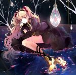 1girl arm_support bare_tree black_dress black_legwear black_nails blonde_hair crystal dress earrings ereshkigal_(fate/grand_order) fate/grand_order fate_(series) hair_ribbon hand_on_own_face high_heels in_water jewelry leg_ribbon long_hair looking_at_viewer lying mismatched_legwear on_side open_mouth partially_submerged petals petals_on_liquid puracotte red_eyes reflection ribbon skull_necklace solo tree twintails very_long_hair yellow_footwear