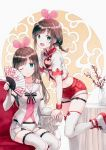 2girls :d ;q a.i._channel absurdres bare_shoulders belt blue_eyes breasts brown_hair chair cleavage_cutout closed_mouth collarbone commentary crop_top detached_sleeves fan flower folding_fan hairband heart_cutout highres hiten_(hitenkei) holding holding_fan kizuna_ai leg_up long_hair looking_at_viewer midriff multicolored_hair multiple_girls navel one_eye_closed open_mouth pink_hair red_shorts sailor_collar shirt shoes short_shorts short_sleeves shorts sidelocks sitting small_breasts smile sneakers standing standing_on_one_leg streaked_hair thigh-highs thigh_strap thighs tongue tongue_out undershirt vase virtual_youtuber white_footwear white_legwear white_sailor_collar white_shirt white_shorts wristband