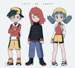 1girl 2boys backpack backwards_hat bag bike_shorts black_jacket blue_eyes blue_hair boots brown_eyes clenched_hands crossed_arms crystal_(pokemon) full_body gold_(pokemon) grey_background hat jacket mandi0pan messenger_bag multiple_boys parody pigeon-toed pokemon pokemon_(game) pokemon_gsc pokemon_lgpe red_legwear redhead shorts shoulder_bag silver_(pokemon) simple_background socks style_parody turtleneck twintails yellow_shorts