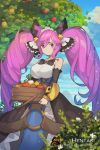 1girl animal apple artist_name bangs bare_shoulders bell black_bow black_sleeves blue_dress blue_sky bow breasts bug butterfly cleo_(dragalia_lost) clouds cloudy_sky collarbone commentary day detached_sleeves dragalia_lost dress english_commentary eyebrows_visible_through_hair food fruit hair_bell hair_between_eyes hair_ornament hentaki highres holding insect jingle_bell large_breasts long_hair long_sleeves o-ring outdoors purple_hair red_apple sidelocks sky sleeves_past_wrists solo strapless strapless_dress twintails very_long_hair violet_eyes watermark web_address