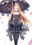 1girl abigail_williams_(fate/grand_order) bangs bare_shoulders black_bow black_dress black_flower black_headwear black_legwear black_rose black_umbrella blonde_hair blue_eyes blush bow breasts closed_mouth collarbone dress dust9 eyebrows_visible_through_hair fate/grand_order fate_(series) flower frilled_dress frills hair_bow hat highres holding holding_umbrella juliet_sleeves long_hair long_sleeves looking_at_viewer orange_bow pantyhose parted_bangs petals pleated_dress puffy_sleeves rose see-through signature small_breasts solo strapless strapless_dress umbrella very_long_hair white_background