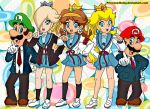 2boys 3girls asahina_mikuru asahina_mikuru_(cosplay) blonde_hair blue_eyes brown_hair cowboy_shot crossover deviantart deviantart_username kadokawa_shoten koizumi_itsuki koizumi_itsuki_(cosplay) kyon kyon_(cosplay) kyoto_animation lips luigi mario mario_(series) moustache nagato_yuki nagato_yuki_(cosplay) necktie nintendo nintendo_ead parody plumber princesa-daisy princess princess_daisy princess_peach princess_rosalina rosetta_(mario) school_uniform super_mario_bros. super_mario_galaxy super_mario_land super_smash_bros. suzumiya_haruhi suzumiya_haruhi_(cosplay) suzumiya_haruhi_no_yuuutsu tokyo_mx
