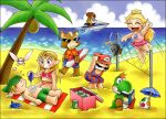 >_< 1other 3girls 5boys animal beach bikini blonde_hair bob-omb book chocolatepixel clouds coconut coconut_tree cooler crown deviantart dinosaur egg fairy female_swimwear floral_print fox fox_mccloud furry hat human hylian intelligent_systems jetski link long_hair male_swimwear mario mario_(series) metroid navi nintendo nintendo_ead ocarina ocean one-piece_swimsuit outdoors palm_tree paper_mario paper_mario:_the_thousand-year_door plumber pointy_ears power_suit princess princess_peach princess_zelda reading reading_book red_shirt retro_studios samus_aran sand shirt shorts sky sleeping soda_can sora_(company) star_fox summer sunglasses super_mario_bros. super_smash_bros. super_smash_bros_melee surfboard swim_trunks the_legend_of_zelda the_legend_of_zelda:_ocarina_of_time triforce umbrella volleyball volleyball_net yoshi yoshi's_island