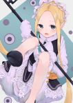 1girl abigail_williams_(fate/grand_order) absurdres apron artist_request bangs black_skirt blonde_hair bloomers blue_eyes bow butterfly_hair_ornament fate/grand_order fate_(series) hair_ornament heroic_spirit_chaldea_park_outfit highres holding huge_filesize key long_hair look maid maid_apron maid_headdress mary_janes open_mouth orange_bow parted_bangs shoes skirt sleeves_past_fingers sleeves_past_wrists stuffed_animal stuffed_toy teddy_bear underwear