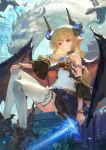 1girl animal bangs bare_shoulders black_footwear blonde_hair blue_eyes blue_sky boots brown_skirt commentary_request curled_horns day dragon eyebrows_behind_hair frilled_skirt frills gem grin hair_between_eyes hand_on_own_knee highres holding holding_sword holding_weapon horns knees_up long_hair looking_at_viewer original outdoors pleated_skirt pointy_ears shirt sitting skirt sky sleeveless sleeveless_shirt smile solo sword thigh-highs wasabi60 weapon white_legwear white_shirt