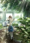 1girl absurdres backpack bag blue_skirt blurry_foreground braid brown_eyes brown_footwear brown_hair building bush dappled_sunlight day glint hand_up highres holding holding_instrument instrument music_stand original outdoors penny_loafers scenery school_uniform serafuku sheet_music skirt smile socks standing stuffed_animal stuffed_toy sunlight tachibana_komoro teddy_bear trombone twin_braids uniform white_sky