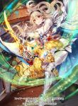 1girl armor black_hairband cape closed_mouth company_name copyright_name corrin_(fire_emblem) corrin_(fire_emblem)_(female) fire_emblem fire_emblem_cipher fire_emblem_fates full_body hairband holding holding_staff itou_misei long_hair official_art red_eyes solo staff white_hair