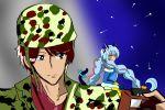 1girl blue_hair braid brown_eyes crossover cure_cosmo kadoya_tsukasa kamen_rider kamen_rider_dcd kamen_rider_zi-o_(series) kanajin multicolored_hair pink_hair precure star_twinkle_precure twin_braids yuni_(precure)