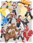 1boy ampharos azumarill backwards_hat black_hair gen_2_pokemon gold_(pokemon) hat highres hood hoodie insect_wings poke_ball poke_ball_(generic) pokemon pokemon_(creature) pokemon_(game) pokemon_gsc pokemon_sm scizor shorts smile typhlosion umbreon wings yukin_(es)