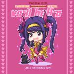 1girl black_cat blush cat cosplay hair_ribbon hairband jill_stingray leotard pixel_art purple_hair ribbon twintails va-11_hall-a violet_eyes yuyukong