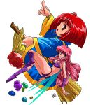 2girls bikini bob_cut boots broom broom_riding candy cotton_(character) cotton_(game) fairy fairy_wings food long_hair long_sleeves multiple_girls official_art open_mouth pink_hair pointy_shoes purple_footwear red_eyes redhead shoes short_hair silk_(cotton) swimsuit transparent_background wide_sleeves wings yellow_footwear