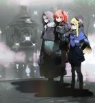 3girls ahoge blonde_hair cloak fate/grand_order fate_(series) fog fujimaru_ritsuka_(female) gray_(lord_el-melloi_ii) grey_hair hat hood hooded_cloak long_hair multiple_girls namie-kun orange_hair pantyhose reines_el-melloi_archisorte side_ponytail skirt suitcase tree