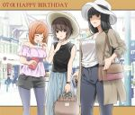 3girls bag bangs black_shirt black_shorts blue_skirt blunt_bangs blurry blurry_background blush bracelet brown_coat brown_eyes brown_hair brown_headwear carrying casual city closed_eyes coat collaboration commentary cup dated girls_und_panzer grey_legwear grey_pants handbag happy_birthday hat head_tilt highres holding holding_cup holding_handbag jewelry laughing legwear_under_shorts light_frown long_hair long_skirt long_sleeves looking_at_viewer mature mother_and_daughter mug multiple_girls nishizumi_maho nishizumi_miho nishizumi_shiho off-shoulder_shirt off_shoulder open_clothes open_coat open_mouth outdoors outside_border pants pantyhose parted_lips pink_shirt saitou_gabio shirt short_hair short_shorts shorts siblings sisters skirt sleeveless sleeveless_shirt standing straight_hair sun_hat watch watch white_headwear white_shirt yakumoreo