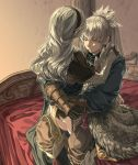 1boy 1girl black_panties brother_and_sister closed_eyes corrin_(fire_emblem)_(female) fire_emblem fire_emblem_fates futon grey_kimono harusame_(rueken) hug indoors japanese_clothes kimono long_hair lying on_side panties shiny shiny_hair siblings silver_hair takumi_(fire_emblem) underwear very_long_hair white_kimono