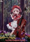1girl artist_name blonde_hair blush bow bow_(instrument) cello copyright_name dress flower forest french_text frills full_body instrument little_red_riding_hood little_red_riding_hood_(grimm) looking_at_viewer nature outdoors red_bow red_dress red_eyes red_headwear standing yuzu_project