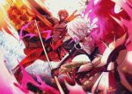 2boys armor ashwatthama_(fate/grand_order) battle black_bodysuit black_gloves bodysuit choker dark_skin earrings fate/grand_order fate_(series) gloves grin highres holding holding_spear holding_weapon jewelry karna_(fate) legs_apart male_focus multiple_boys muscle outstretched_hand polearm redhead sasame_yuuki shirtless smile spear standing teeth weapon white_hair yellow_eyes