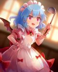 1girl 60mai :d alternate_costume apron bangs bat_wings blue_hair blurry blurry_background bow commentary_request cowboy_shot dress dutch_angle enmaided eyebrows_visible_through_hair fang hair_between_eyes hand_on_hip hand_up holding indoors ladle looking_at_viewer maid maid_apron maid_headdress open_mouth pink_dress puffy_short_sleeves puffy_sleeves red_bow red_eyes remilia_scarlet short_hair short_sleeves smile solo standing touhou white_apron window wings wrist_cuffs
