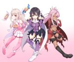 3girls ;q absurdres ascot bangs bare_shoulders black_footwear black_hair boots breasts brown_eyes chloe_von_einzbern closed_mouth commentary_request covered_navel detached_sleeves earrings eyebrows_visible_through_hair fate/kaleid_liner_prisma_illya fate_(series) gloves gradient gradient_background hair_between_eyes hair_ornament hairclip highres illyasviel_von_einzbern jewelry knee_boots latin_cross leotard light_brown_hair long_hair long_sleeves magical_ruby magical_sapphire medium_breasts miyu_edelfelt multiple_girls navel one_eye_closed pink_background pink_footwear pink_hair pink_legwear pink_shirt pink_sleeves pleated_skirt prisma_illya purple_legwear purple_leotard purple_sleeves red_eyes shirt skirt sleeveless sleeveless_shirt small_breasts smile thigh-highs thigh_boots tongue tongue_out very_long_hair white_background white_footwear white_gloves white_skirt x_hair_ornament yellow_eyes yellow_neckwear zongren