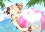 1girl :d abigail_williams_(fate/grand_order) ball bangs beachball black_bow blue_eyes bow cute double_bun emerald_float fate/grand_order fate_(series) frilled_tankini holding holding_ball iwasaki_takashi object_hug open_mouth orange_bow parted_bangs sketch smile swimming swimsuit tankini type-moon wading water