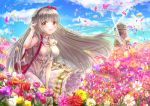 1girl bangs blue_sky blunt_bangs bow braid clouds day dress eyebrows_visible_through_hair field floating_hair flower flower_field hair_bow hairband long_dress long_hair looking_at_viewer outdoors pink_flower red_bow red_flower red_hairband rouche_(shironeko_project) shironeko_project silver_hair sky sleeveless sleeveless_dress solo standing sundress tamaso very_long_hair white_dress white_flower windmill yellow_eyes yellow_flower