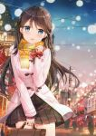 1girl :o absurdres bag bangs black_legwear blue_eyes blush brown_hair city coat duffel_coat fuumi_(radial_engine) gift highres holding long_hair long_sleeves looking_at_viewer night night_sky open_mouth original pleated_skirt scan scarf school_bag skirt sky solo thigh-highs wire yellow_scarf zettai_ryouiki