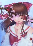 1girl absurdres bangs bare_shoulders blue_background bow brown_hair cherry_blossoms commentary_request detached_sleeves eyebrows_visible_through_hair finger_to_mouth frilled_bow frills hair_bow hair_tubes hakurei_reimu highres long_hair long_sleeves looking_at_viewer mayukehiyoko one_eye_covered parted_lips red_bow red_eyes sailor_collar sidelocks solo touhou upper_body white_sailor_collar wide_sleeves
