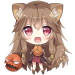 1girl :d animal_ear_fluff animal_ears bangs blush boots brown_dress brown_footwear brown_hair chibi commentary_request dagger dated dress eyebrows_visible_through_hair full_body hair_between_eyes hair_tubes holding hoshi_(snacherubi) long_hair long_sleeves looking_at_viewer open_mouth raccoon_ears raccoon_girl raccoon_tail raphtalia red_eyes round_teeth sheath sheathed short_over_long_sleeves short_sleeves sidelocks signature simple_background smile solo standing tail tate_no_yuusha_no_nariagari teeth upper_teeth very_long_hair weapon white_background