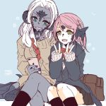 2girls au_ra bag black_skin blue_background blue_eyes blush cellphone cirina_mol crossed_legs double_v dragon_horns dragon_tail final_fantasy final_fantasy_xiv green_eyes horns jewelry lili_mdoki long_hair looking_at_viewer multiple_girls open_mouth phone pink_hair ring sadu_dotharl scales school_uniform short_hair sitting smartphone smile tail v white_hair