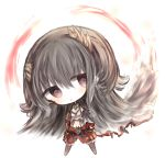 1girl :o bangs black_hair black_legwear blush character_request chibi commentary_request cottontailtokki full_body hair_between_eyes head_tilt horns long_hair long_sleeves navel pantyhose parted_lips puffy_shorts red_eyes red_shorts shadowverse shorts solo standing very_long_hair white_background