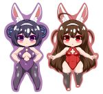 2girls :< absurdres ahoge animal_ear_fluff animal_ears ass_visible_through_thighs azur_lane bare_arms bare_shoulders black_footwear black_hair black_legwear blush breasts brown_hair brown_outline bunny_girl bunnysuit closed_mouth covered_collarbone covered_navel double_bun hairband hands_on_hips highres kurukurumagical leotard long_hair medium_breasts multiple_girls ning_hai_(azur_lane) outline outstretched_arms pantyhose parted_lips ping_hai_(azur_lane) purple_background purple_leotard rabbit_ears red_eyes red_leotard shoes side_bun simple_background small_breasts thigh-highs two_side_up very_long_hair violet_eyes white_background white_hairband