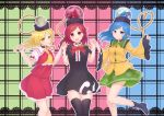 3girls arms_up black_choker black_dress black_footwear black_legwear blonde_hair blouse blue_background blue_eyes blue_hair boots chain checkered checkered_background choker commentary_request contrapposto cosplay cravat dress earth_(ornament) feet_out_of_frame flandre_scarlet flandre_scarlet_(cosplay) floral_print frilled_sleeves frills green_background green_collar green_skirt grin hair_blowing head_tilt heart heart_of_string hecatia_lapislazuli hecatia_lapislazuli_(earth) hecatia_lapislazuli_(moon) highres holding_hands houjuu_nue houjuu_nue_(cosplay) kanpa_(campagne_9) komeiji_koishi komeiji_koishi_(cosplay) lace_border long_hair long_sleeves looking_at_viewer moon_(ornament) multiple_girls open_mouth outline petticoat pink_background polos_crown puffy_short_sleeves puffy_sleeves red_eyes red_skirt red_vest redhead rose_print shirt short_sleeves skirt skirt_set sleeves_past_wrists smile standing standing_on_one_leg thigh-highs touhou upper_teeth vest white_shirt wide_sleeves yellow_blouse yellow_eyes yellow_neckwear zettai_ryouiki
