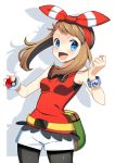 1girl absurdres belt bike_shorts blush bracelet brown_hair cowboy_shot hair_ribbon hand_up happy haruka_(pokemon) highres holding holding_poke_ball jewelry looking_at_viewer open_mouth poke_ball pokemon pokemon_(game) pokemon_oras pouch ribbon shadow short_under_shorts shorts solo tank_top white_background wimple_background yuihiko