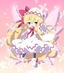 1girl :d bangs black_legwear blonde_hair blue_eyes blush boots bow chibi commentary_request dress eyebrows_visible_through_hair fairy_wings floral_background full_body hair_between_eyes hat hat_bow highres kneehighs lily_white long_hair long_sleeves milkpanda open_mouth outstretched_arm pink_wings red_bow round_teeth smile solo teeth thick_eyebrows touhou upper_teeth very_long_hair white_dress white_footwear white_headwear wide_sleeves wings