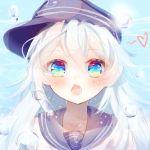 1girl blue_eyes fang hat hibiki_(kantai_collection) kantai_collection long_hair looking_at_viewer neckerchief open_mouth school_uniform serafuku solo upper_body white_hair yuri_to_hizakura