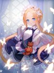 1girl :o abigail_williams_(fate/grand_order) bangs black_dress blonde_hair blue_eyes blush braid breasts bug butterfly butterfly_hair_ornament collared_dress curtains dress eyebrows_visible_through_hair fate/grand_order fate_(series) forehead fuyouchu hair_ornament heroic_spirit_chaldea_park_outfit indoors insect keyhole long_hair long_sleeves parted_bangs parted_lips shirt sidelocks sleeves_past_fingers sleeves_past_wrists small_breasts solo stuffed_animal stuffed_toy teddy_bear transparent very_long_hair white_shirt window