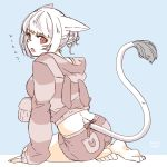 1girl animal_ears bangs barefoot cat_ears cat_tail facial_mark final_fantasy final_fantasy_xiv from_behind heterochromia hood hood_down hoodie lili_mdoki looking_at_viewer looking_back miqo'te open_mouth short_hair shorts simple_background sitting sketch sleeves_past_wrists slit_pupils solo tail whisker_markings white_hair