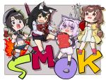 4girls :d ahoge animal_ear_fluff animal_ears axe beret black_hair blue_eyes bone_hair_ornament brown_eyes brown_hair cat_ears cat_tail chainsaw chibi commentary_request dog_ears dog_tail dress fire fire_axe full_body gas_can grey_legwear hairband hat hololive inugami_korone left_4_dead_2 leg_warmers long_hair long_sleeves midriff multicolored_hair multiple_girls navel nekomata_okayu ookami_mio oozora_subaru open_mouth purple_hair redhead shirt short_hair shorts sleeveless sleeveless_shirt smile smoker_(left_4_dead) soda_bottle square_mouth standing streaked_hair suspenders tail takuji_yuusaku tentacles thigh-highs violet_eyes virtual_youtuber white_dress wolf_ears