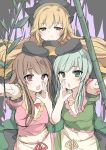 3girls absurdres apron aura bamboo bangs black_headwear blonde_hair blush bow breasts brown_eyes brown_hair commentary_request cowboy_shot dress eyebrows_visible_through_hair green_dress green_eyes green_hair grey_background hair_between_eyes highres holding karasusou_nano light_smile long_hair looking_at_viewer matara_okina medium_breasts multiple_girls myouga_(plant) nishida_satono open_mouth pink_dress red_bow red_ribbon ribbon sidelocks sketch teireida_mai touhou violet_eyes waist_apron white_apron yellow_bow yellow_ribbon