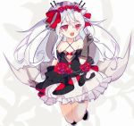 1girl azur_lane bare_shoulders black_dress breasts cake_(isiofb) dress fang gloves hair_between_eyes hair_ribbon highres low_wings red_eyes ribbon silver_hair small_breasts solo twintails vampire_(azur_lane) veil wedding_dress wings