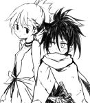 2girls alternate_hairstyle bags_under_eyes blush commentary_request cosplay dororo_(character) dororo_(character)_(cosplay) dororo_(tezuka) hyakkimaru_(dororo) hyakkimaru_(dororo)_(cosplay) japanese_clothes katana kuroki_tomoko maromi_(am97) monochrome multiple_girls nemoto_hina ponytail side-by-side sideways_glance simple_background spiky_hair sweatdrop sword watashi_ga_motenai_no_wa_dou_kangaetemo_omaera_ga_warui! weapon white_background