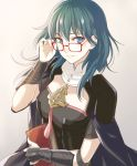 1girl armor bespectacled black_armor blue_eyes blue_hair book byleth byleth_(female) closed_mouth fire_emblem fire_emblem:_three_houses glasses holding holding_book red-framed_eyewear shinkanoshin simple_background smile solo upper_body white_background