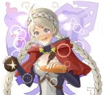 1girl ahoge blue_eyes blush bread capelet carrot elbow_gloves fire_emblem fire_emblem_fates food gloves holding holding_food imagining long_hair nina_(fire_emblem) ryuusaki_rei solo twintails white_hair
