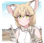 1girl absurdres animal_ear_fluff animal_ears artist_name bangs bare_shoulders blonde_hair bow bowtie cat_ears commentary day disco_brando double_v elbow_gloves expressionless extra_ears eyebrows_visible_through_hair gloves green_eyes hair_between_eyes highres kemono_friends looking_at_viewer mountainous_horizon outdoors print_gloves print_neckwear sand_cat_(kemono_friends) sand_cat_print shirt short_hair sleeveless sleeveless_shirt solo twitter_username upper_body v white_shirt