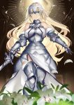 1girl armor armored_dress blonde_hair blurry_foreground eyebrows_visible_through_hair fate/grand_order fate_(series) flower green_eyes hair_ornament highres jeanne_d'arc_(fate) jeanne_d'arc_(fate)_(all) karlwolf lily_(flower) long_hair looking_at_viewer petals standing sword weapon