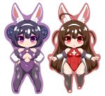 2girls :< absurdres ahoge animal_ear_fluff animal_ears ass_visible_through_thighs azur_lane bare_shoulders black_footwear black_hair black_legwear blush breasts brown_hair brown_outline bunny_girl bunnysuit closed_mouth commentary_request covered_collarbone covered_navel double_bun fur-trimmed_jacket fur_trim hairband hands_on_hips highres jacket kurukurumagical leotard long_hair long_sleeves medium_breasts multiple_girls ning_hai_(azur_lane) off_shoulder open_clothes open_jacket outline outstretched_arms pantyhose parted_lips ping_hai_(azur_lane) puffy_long_sleeves puffy_sleeves purple_background purple_leotard rabbit_ears red_eyes red_leotard shoes side_bun simple_background small_breasts thigh-highs two_side_up very_long_hair violet_eyes white_background white_hairband white_jacket