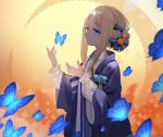 1girl abigail_williams_(fate/grand_order) black_bow black_dress blonde_hair blue_eyes bow bug butterfly dress fate/grand_order fate_(series) fuyouchu insect long_sleeves looking_at_viewer orange_bow tentacles tied_hair