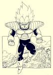 1boy armor boots clenched_hands clouds dragon_ball dragon_ball_z full_body gloves highres lee_(dragon_garou) male_focus monochrome mountain smile solo super_saiyan tree vegeta