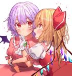 2girls bangs bat_wings blush bow breasts brooch commentary_request cravat crystal dress eyebrows_visible_through_hair fang flandre_scarlet frilled_shirt_collar frills gloves hair_bow hand_up highres jewelry lavender_hair long_hair looking_at_another masanaga_(tsukasa) multiple_girls no_hat no_headwear open_mouth pink_dress profile puffy_short_sleeves puffy_sleeves red_bow red_eyes red_skirt red_vest remilia_scarlet shirt short_hair short_sleeves siblings simple_background sisters skirt skirt_set small_breasts touhou upper_body vest white_background white_gloves white_neckwear white_shirt wings